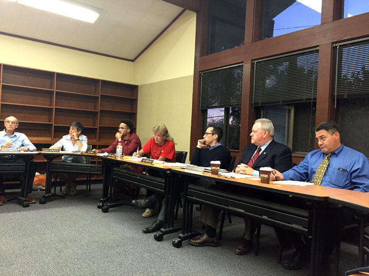 Chief Andy Greenwood, second from the right, addresses the PRC on Wednesday night. Photo: Emilie Raguso