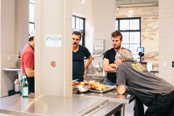 Matt Johansen, Iso Rabins and Jeff Mason talk rotisserie chicken at Forage Kitchen. Photo: Clara Rice