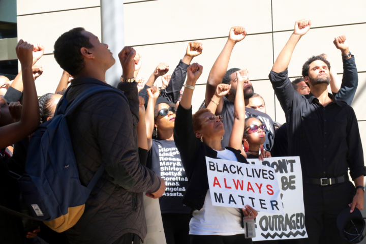 Berkeley Law students held a 'Black Out' demo on the UC Berkeley campus on Thursday Oct. 7. Photo: Ted Friedman