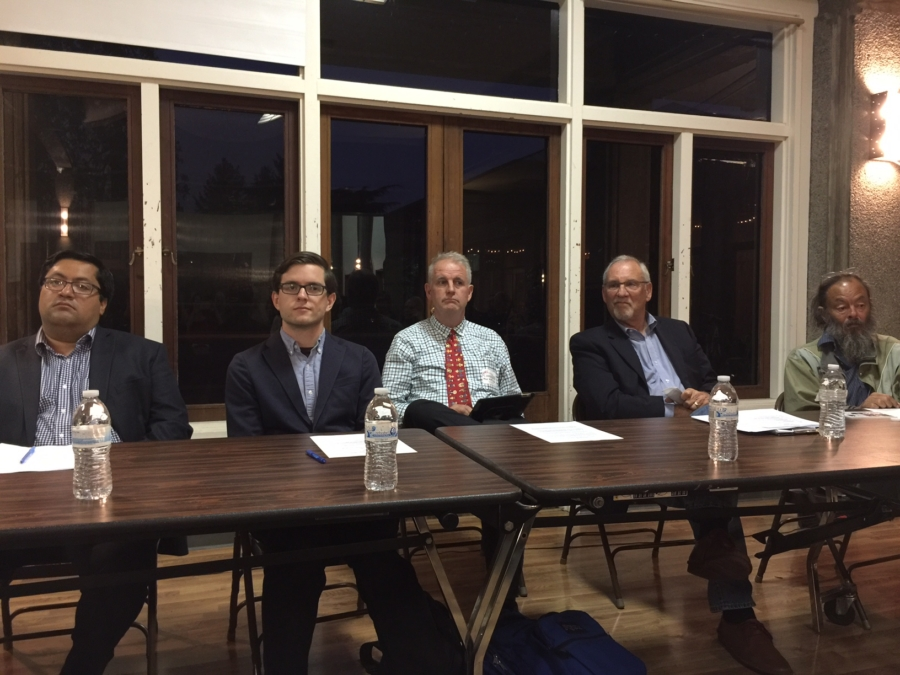 Five of the eight people running for mayor wait before the start of the CENA/Bateman Neighborhood Association Forum. From left to right: Jesse Arreguin, Ben Gould, Kriss Worthington, Laurie Capitelli, and Mike Lee. Photo: Frances Dinkelspiel