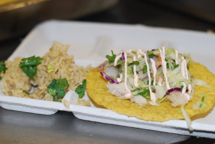 Local fish tostada with brown rice at OUSD. Photo: Courtesy of OUSD