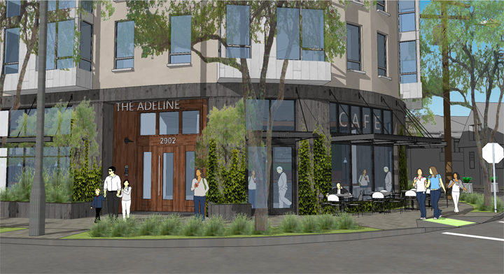 The proposed cafe at Adeline and Russell. Image: Trachtenberg Architects