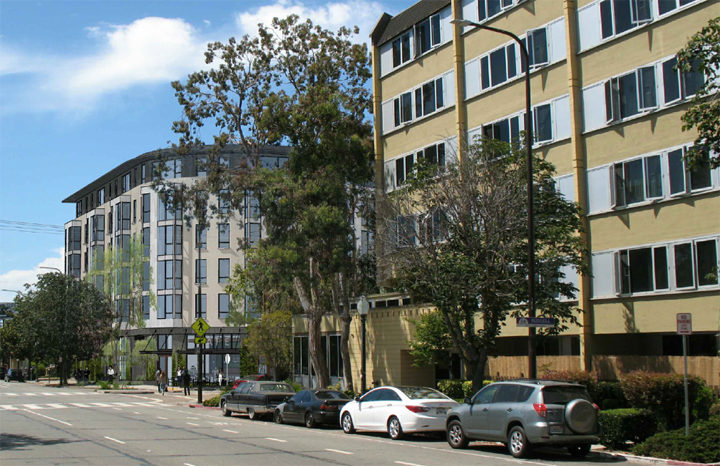 Six-story Harriet Tubman Terrace Apartments is to the north across Russell Street. Image: Trachtenberg Architects