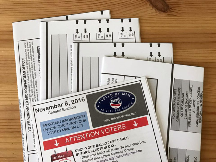 Nov. 8 ballot materials vote by mail absentee ballot. Photo: Emilie Raguso