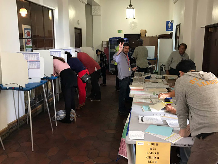 Voting in downtown Berkeley. Photo: Emilie Raguso