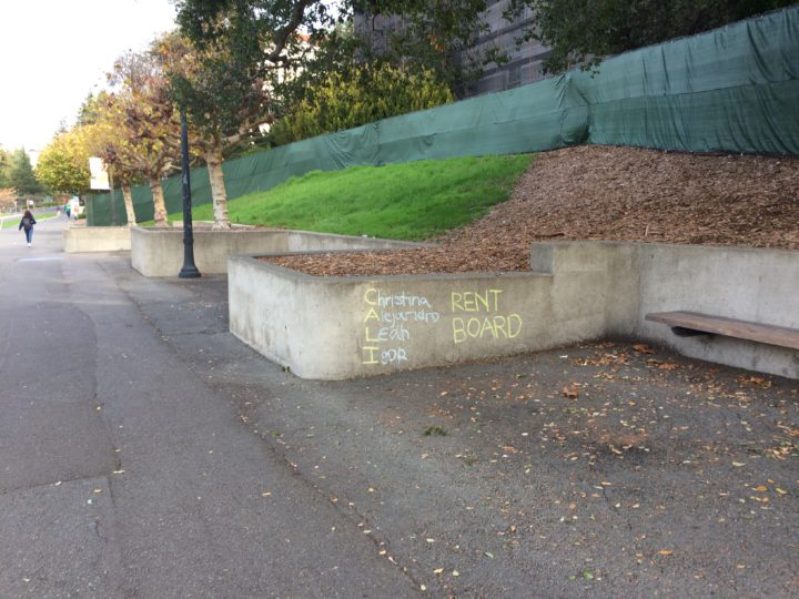 Chalk tagging on the UC Berkeley campus on Monday No. 7, 2016. Photo: Courtesy UC Berkeley