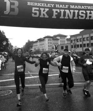 Meg Schwarzman and friends at the finish line. From left, Kristen Anderson, Schwarzman, Lisa Jongewaard and John Balmes. Photo: Kelly Keller