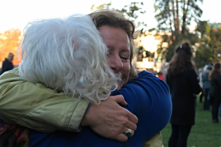 People hug at the unity celebration Nov. 18 in Berkeley. Photo: Ted Friedman