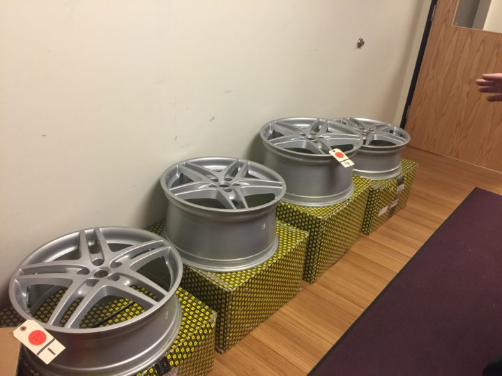 The wheels from a Ferrari will be sold. Photo: Frances Dinkelspiel