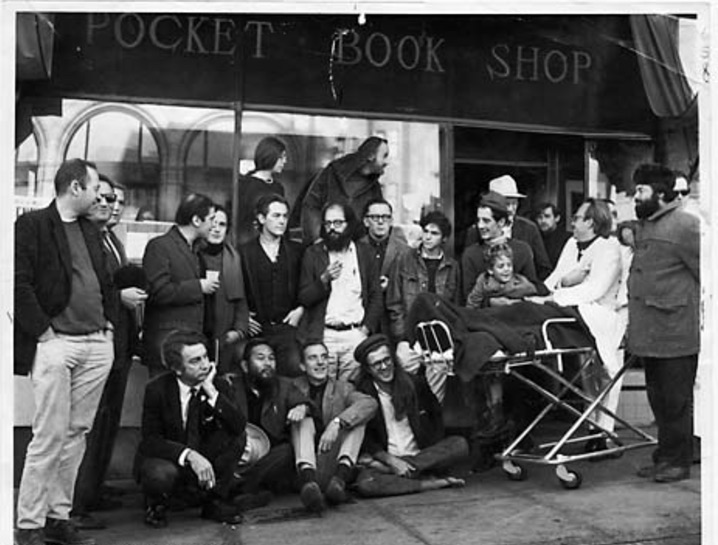 Don Schenker (far left) co-owner of the Print Mint, which became Reprint Mint — a fixture on Telegraph Avenue for more than 50 years. Photo: Courtesy San Francisco Chronicle/Peter Breinig, 1965