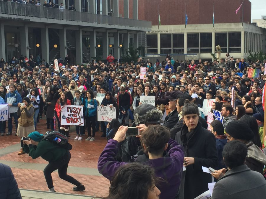 Protesters demonstrate in Berkeley, on campus on ...