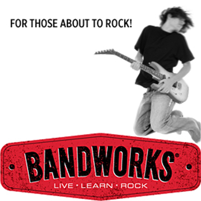person jump with a guitar above BANDWORKS logo | for those about to rock! bandworks: live, learn, rock
