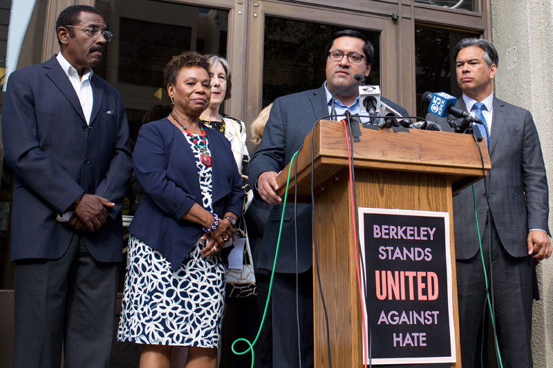 A New Protest Sign Berkeley Stands United Against Hate Was Unveiled During A Press Conference Tuesday Photo Emilie Raguso