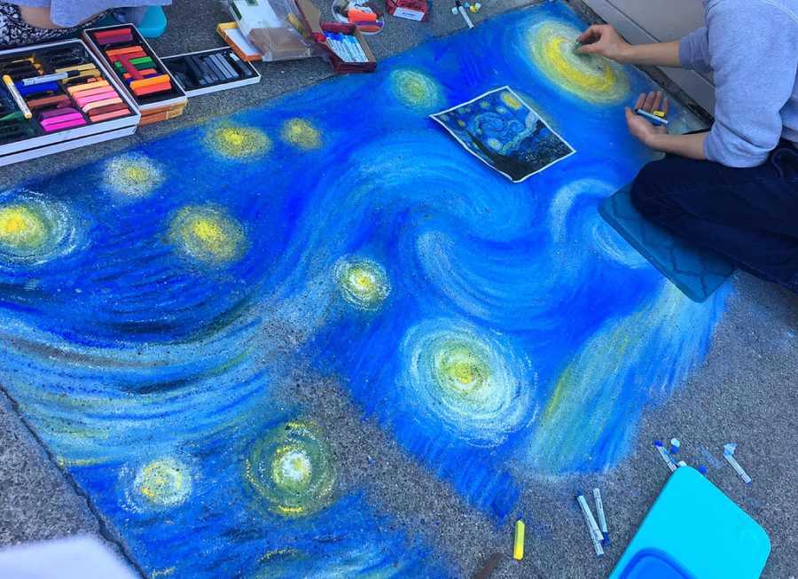 Chalk art during Chocolate and Chalk Art Festival