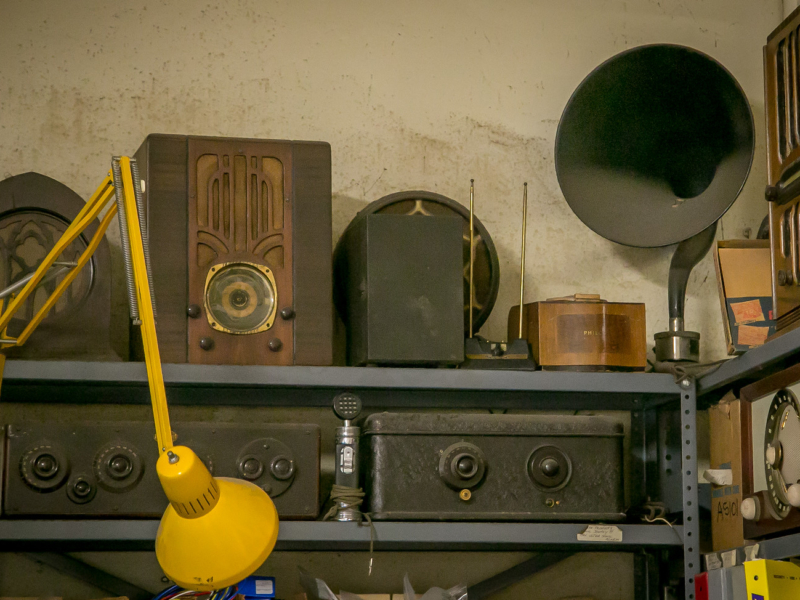 Bob Lasher's antique radios. Photo: John Storey