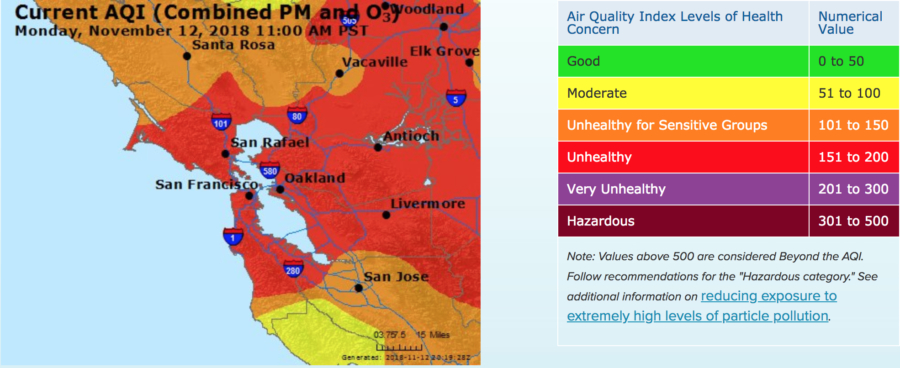 Unhealthy Air Quality Caused By Camp Fire Persists In Berkeley This map from the bay area air quality management district demonstrates the varying levels of air pollution as wildfires burn through northern california. camp fire persists in berkeley