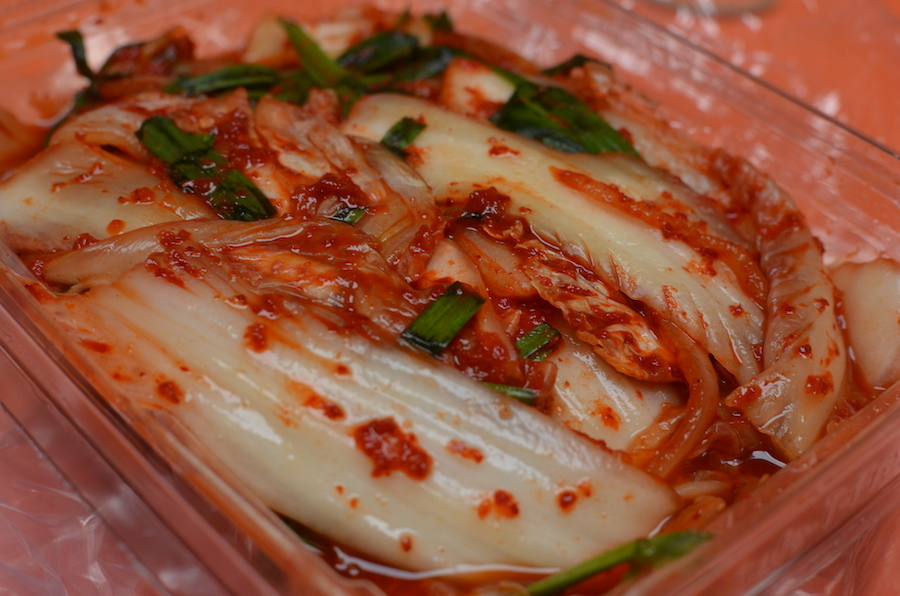 A package of fresh napa cabbage kimchi from EM Deli & Catering in Oakland