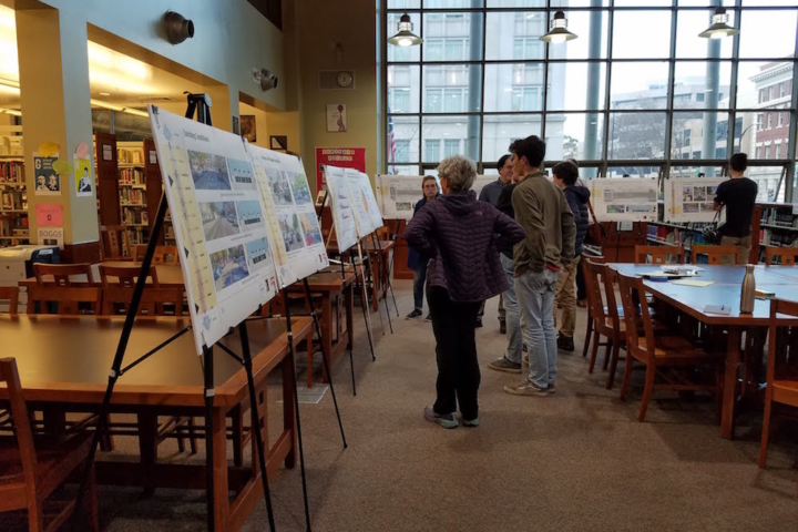 Caption: Berkeley's Public Works Department hosted a January 30 open house at Berkeley High School Library to solicit public input on the city's Milvia Protected Bikeway Project. Photo: Stuart Luman