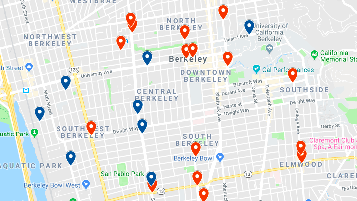 A map of injury crashes involving cyclists or pedestrians in January