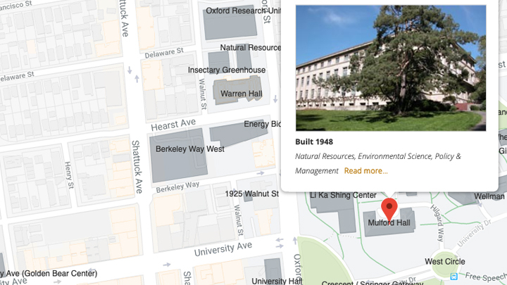 A map of Mulford Hall on the UC Berkeley campus