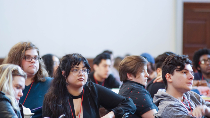 woman listening, Young Democratic Socialists of America convention