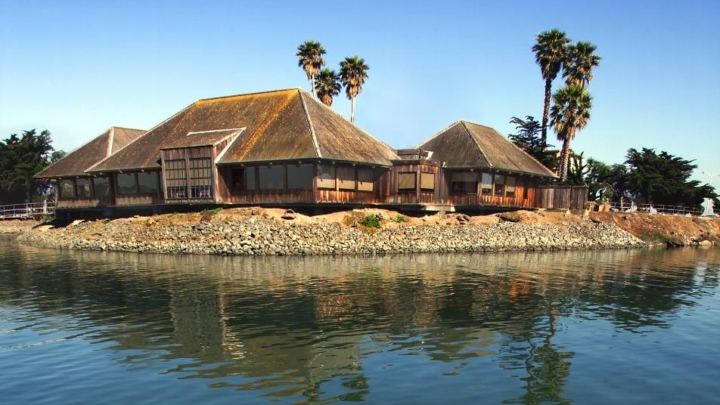 A view from the bay of the Trader Vic's restaurant in Emeryville