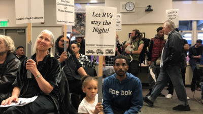 Dozens of local residents, many of whom said they live in vehicles along with their housed supporters, asked council not to make overnight RV parking illegal in Berkeley. Photo: