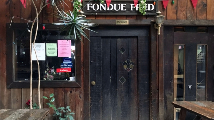 The entrance to Berkeley's Fondue Fred restaurant inside The Village.