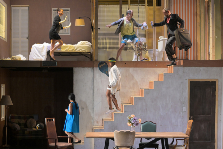 upper level, l to r) Sophie Bortolussi and Geoff Sobelle with (on the stairs, r to l) Justin Rose, Jennifer Kidwell, and Ching Valdes-Aran in HOME at Berkeley Rep. Photo courtesy of Kevin Berne/Berkeley Repertory Theatre