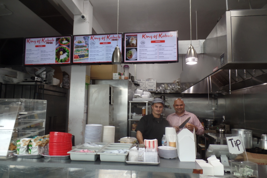 King of Kabab owner Khaled Azzam (left) with colleague at the new Middle Eastern kebab shop in Berkeley.