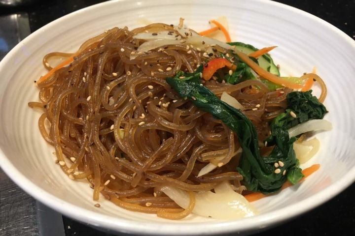 Jap chae, Korean glass noodles, at Ohgane in Oakland.