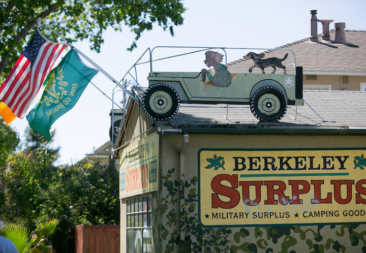 Sign for former military surplus store