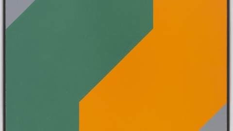 Frederick Hammersley: Me & thee, #14 1980; oil on linen; 24 x 24 in.; BAMPFA, gift of the Frederick Hammersley Foundation. © 2019 Frederick Hammersley Foundation / Artists Rights Society (ARS), New York.