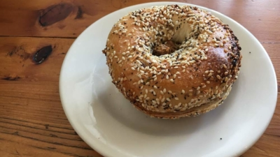 An everything bagel with chopped liver at Beauty's Bagel Shop.