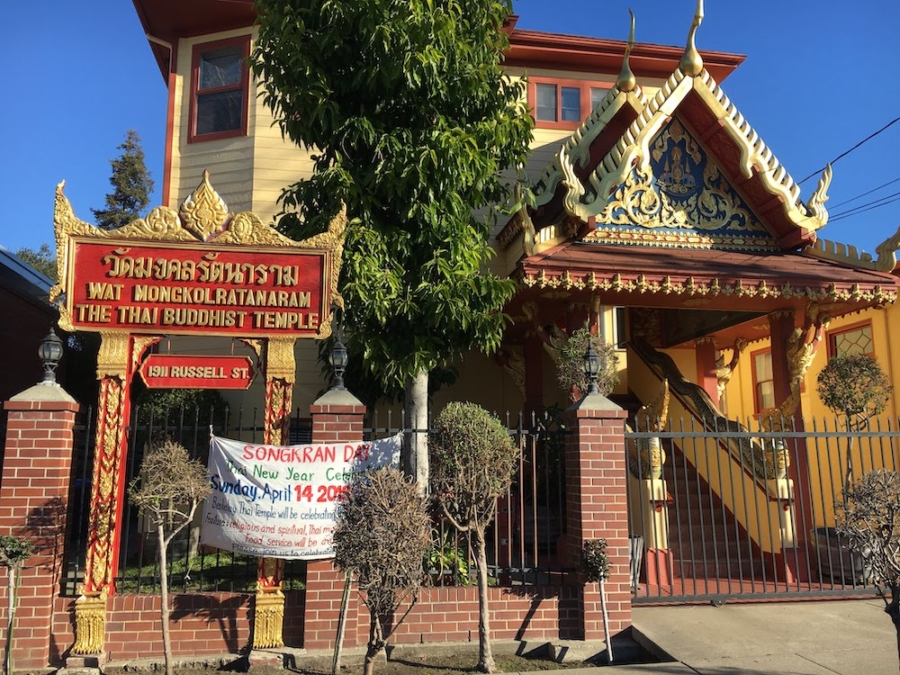 The Wat Mongkolratanaram Thai temple in Berkeley will celebrate Songkran on Sunday, April 14, 2019.