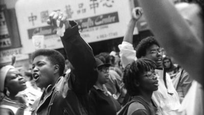 "Lenn Keller, Black lesbian contingent, SF Pride Parade, June, 1991. Digital print 20"" x 30"". Courtesy of H. Lenn Keller"
