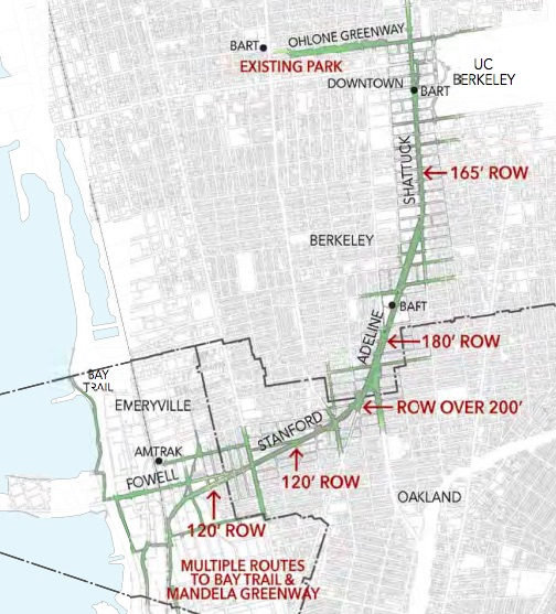 Map of proposed Greenway to run from downtown Berkeley to the Bay Bridge