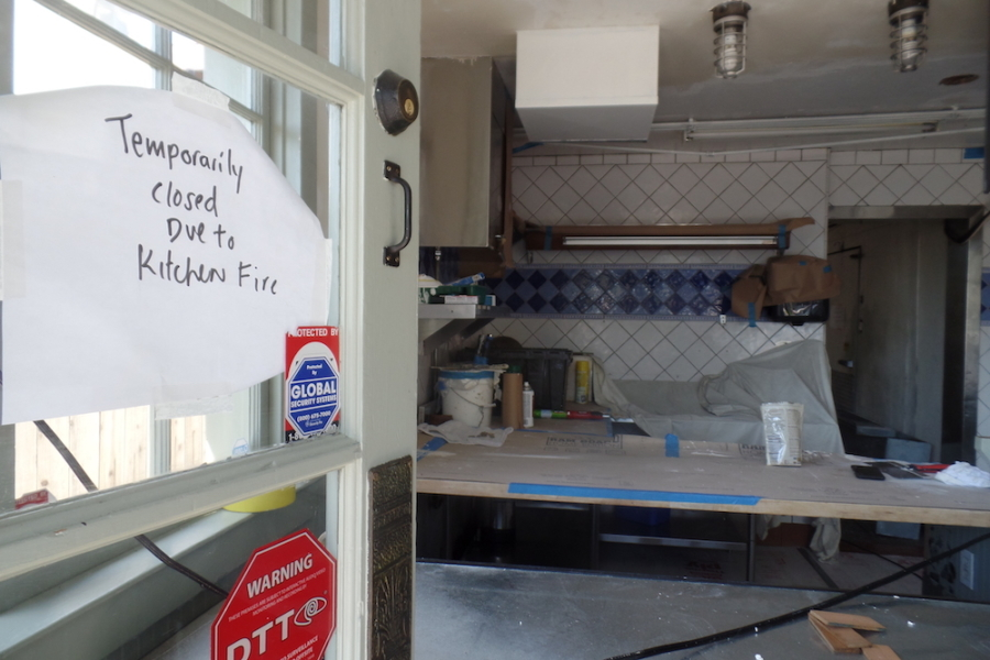 A peek inside Gregoire, currently closed due to a fire.