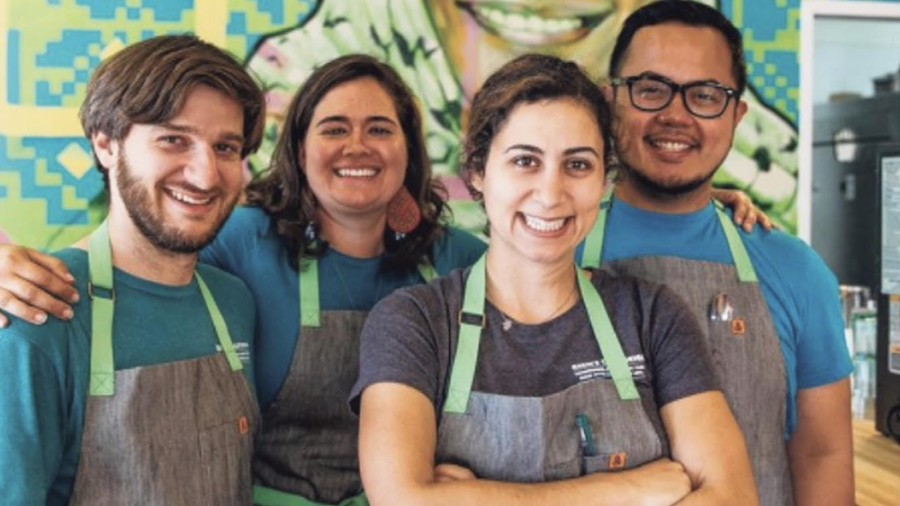 Reem Assil with staff at Reem's California in Oakland's Fruitvale neighborhood