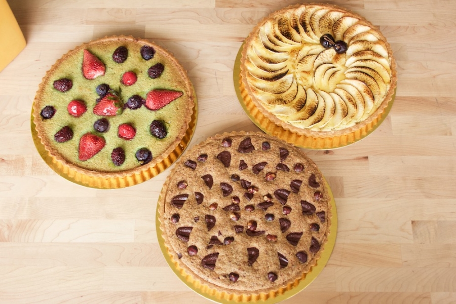 Three tarts from La Noisette Sweets at The Berkeley Kitchens.