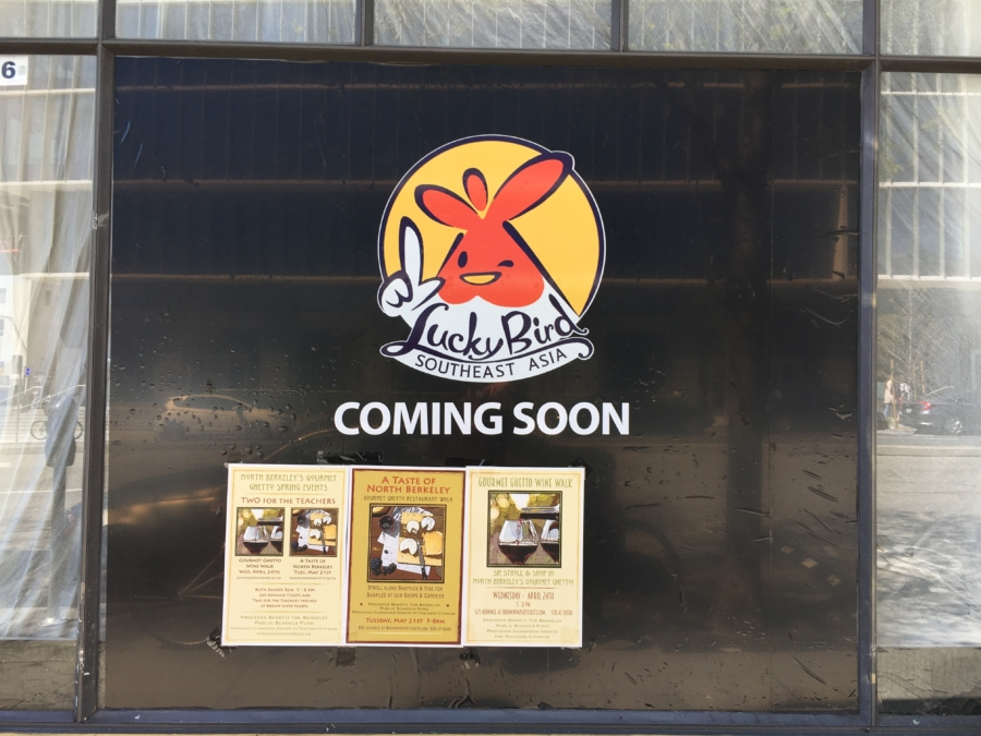 A sign for Lucky Bird Southeast Asia, a new restaurant coming to downtown Berkeley.
