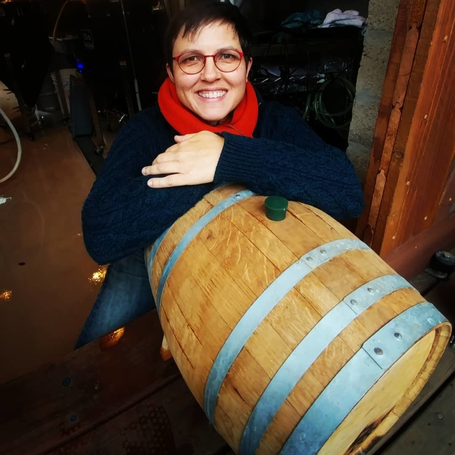 Origin Brewer founder Michelle Baker with a five-gallon barrel of People's Porter.
