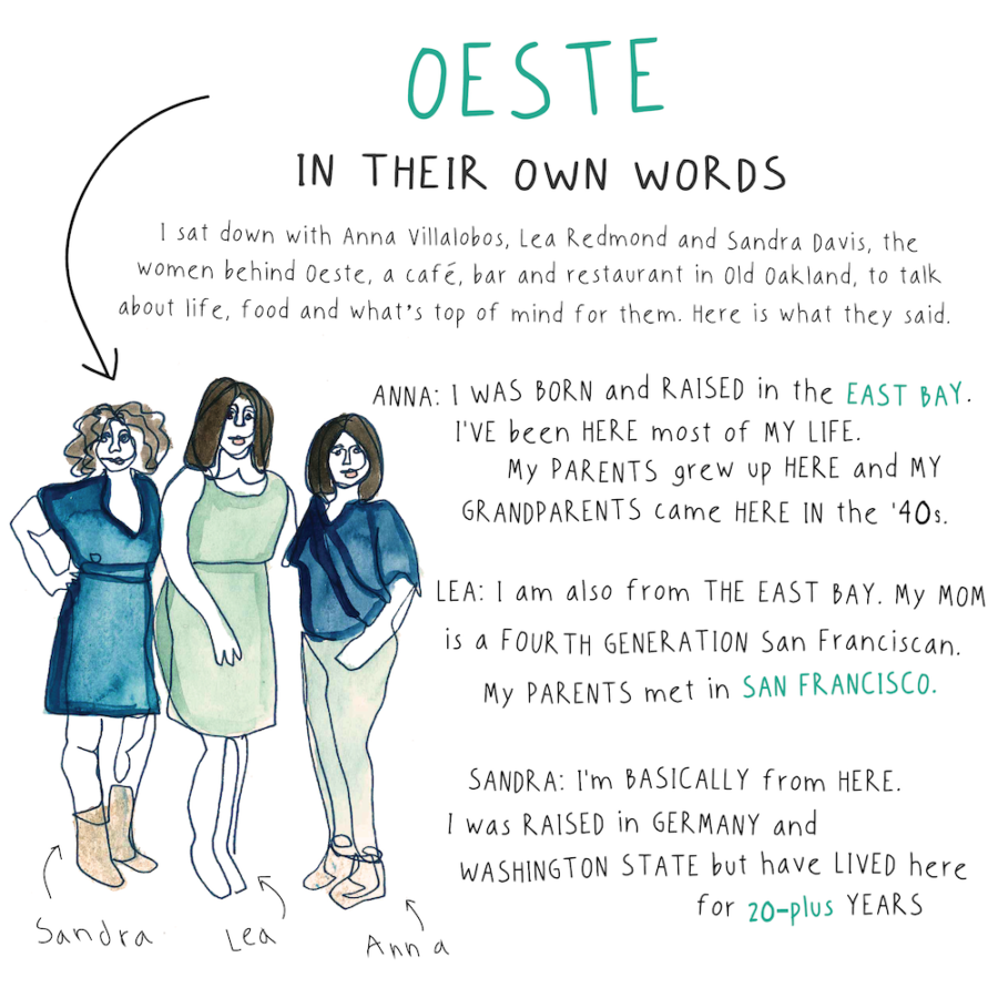An illustration by Kaitlin Strange of the owners of Oeste in Oakland.