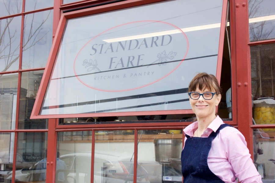 Standard Fare owner Kelsie Kerr stands in front of the windows of her restaurant at The Berkeley Kitchens.