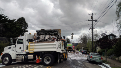 The clean-up scene on Rose Street on Wednesday. Photo: Justin Lee