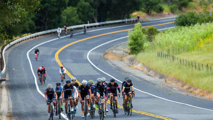 The lead group of cyclists in the Berkeley Hills Road Race in 2016