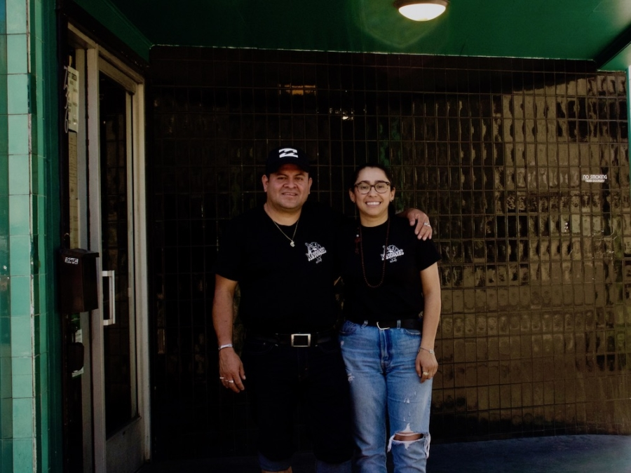 Perez and Velazquez outside of Fort Green sports bar.
