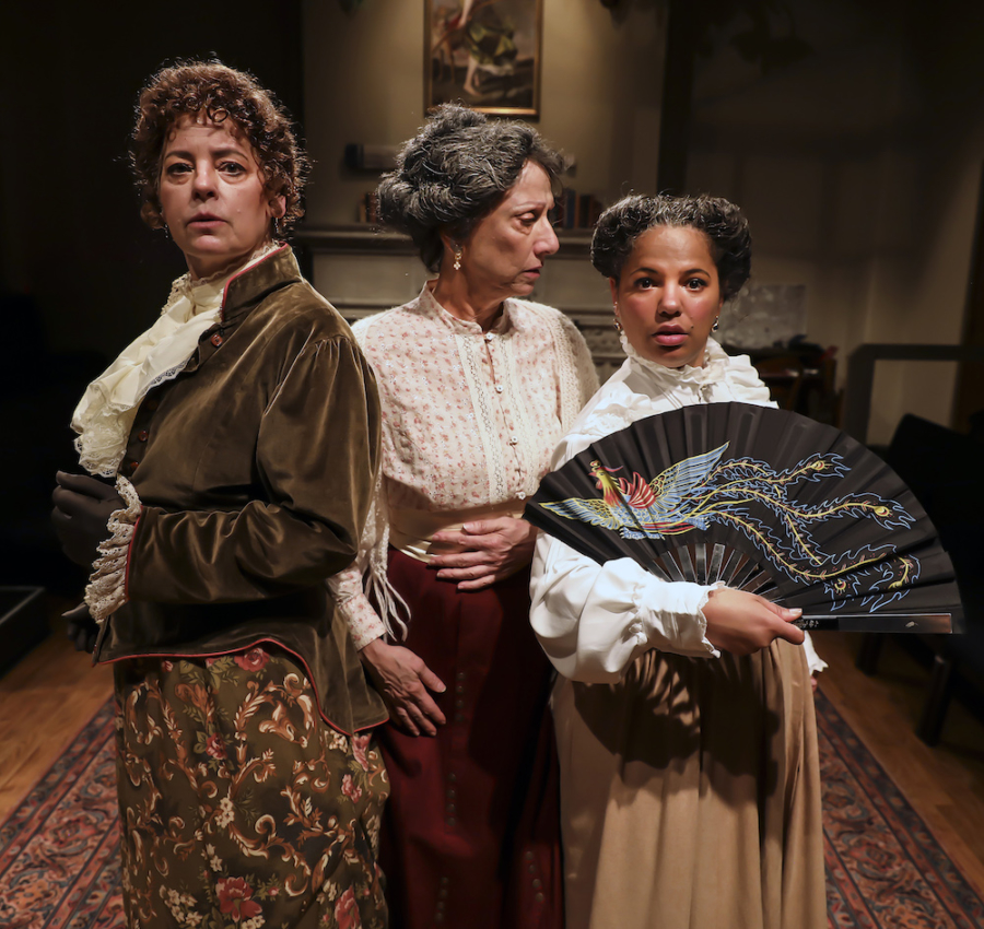 Who is the Battersea Butcher? Three intrepid women choose solve the mystery of who is committing a series of gruesome murders of actresses in Patricia Milton's new play, The Victorian Ladies' Detective Collective (l to r: Jan Zvaifler, Stacy Ross*, Chelsea Bearce). Photo: Jim Norrena