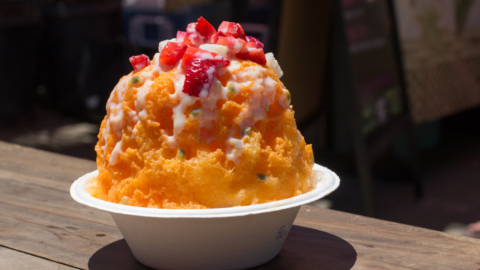 Always Aloha's signature POG shave ice is flavored with passion fruit, orange and guava juice with toppings.