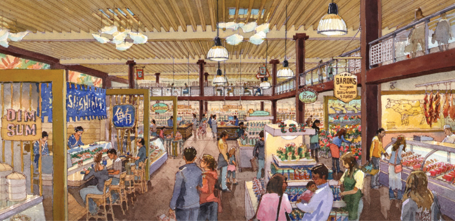 An illustrated rendering of the upcoming Castro Valley Marketplace.